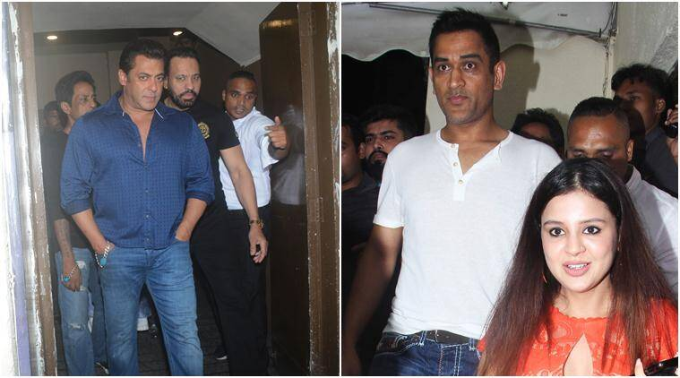 salman khan and dhoni at race 3 screening