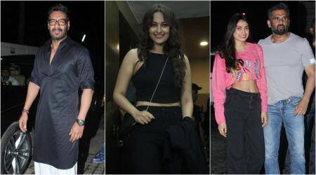 Ajay Devgn, Suniel Shetty, Varun Dhawan and Sonakshi Sinha watch Salman Khan's Race 3