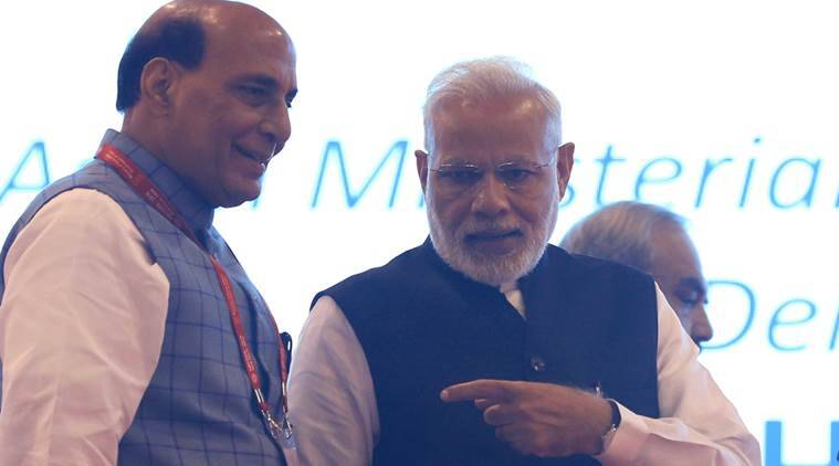 Union Home Minister Rajnath Singh with Prime Minister Narendra Modi. (Express file photo/Renuka Puri)