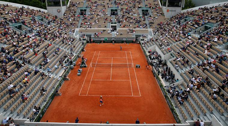 General view of empty seats in the stands during the third round match between Madison Keys of the U.S. and Japan's Naomi Osaka