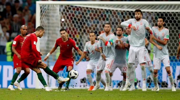 Image result for portugal free kick vs spain world cup