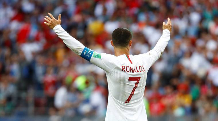 Portugal's Cristiano Ronaldo celebrates after the match against Morocco