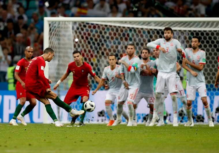 Cristiano Ronaldos Inch Perfect Free Kick Helped Him Complete His Hat Trick Ap Photo Francisco Seco