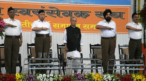Image result for Parnab Mukhrjee in RSS program