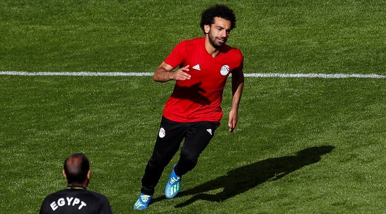 Egypt's Mohamed Salah during training