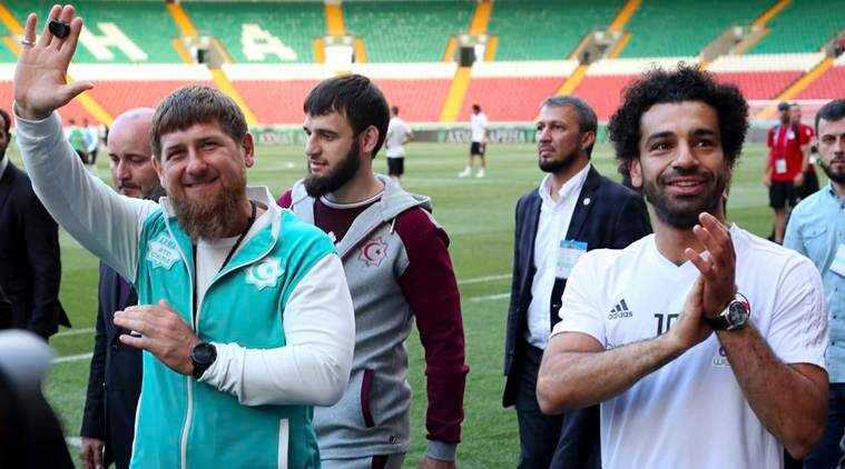 Egyptian national soccer team player and Liverpool's star striker Mohammed Salah, right, and Chechen regional leader Ramzan Kadyrov in Grozny, Russia