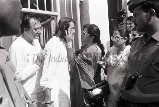 Sanjay Dutt outside jail with family