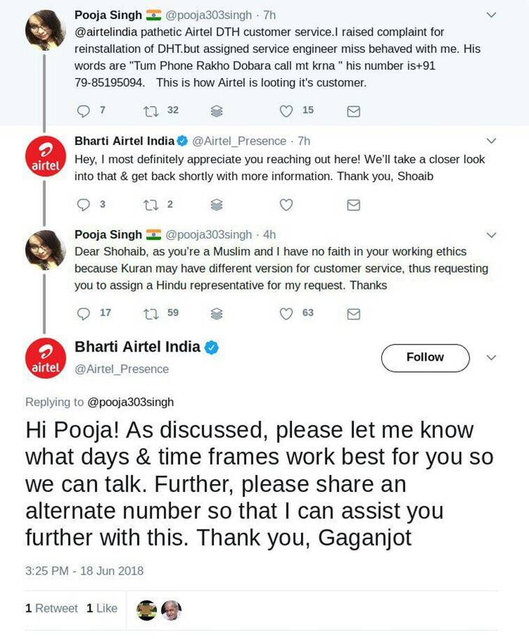 Airtel obliges user with her 'Hindu representative' demand; clarifies after Twitter outrage