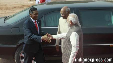Seychelles President Danny Antoine Rollen Faure was welcomed by President Ram Nath Kovind and Prime Minister Narendra Modi at Rashtrapati Bhawan on Monday. (Express photo/Praveen Jain)