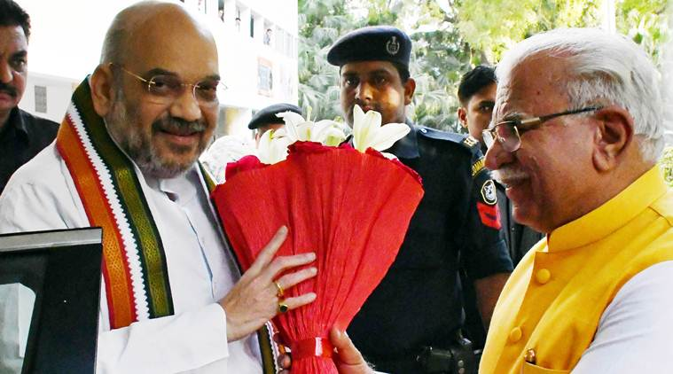 Amit Shah blows poll bugle in Haryana, seeks 2nd term for Khattar