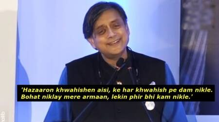 WATCH: After teaching English on Twitter, Shashi Tharoor quotes Ghalib's shayaris onstage