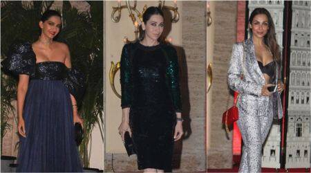 Sonam Kapoor, Malaika Arora, Karisma Kapoor, natasha poonawalla, bollywood fashion, celeb fashion, natasha poonawalla house party, entertainment news, indian express