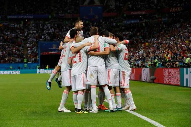 Spain players celebrate their side's opening goal by Spain's Diego Costa during the group B match between Iran and Spain at the 2018 soccer World Cup in the Kazan Arena in Kazan