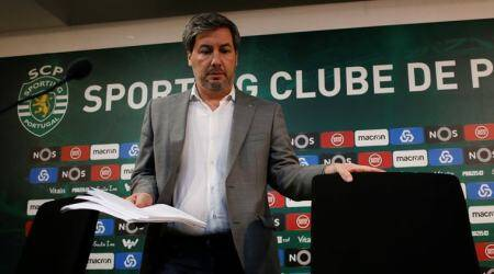 Sporting Portugal's President Bruno de Carvalho arrives at a news conference in Estadio Jose Alvalade in Lisbon