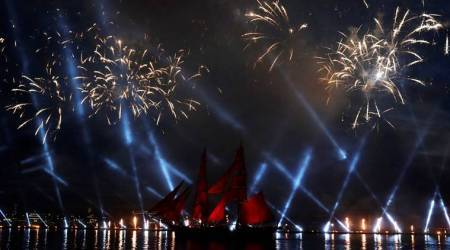 FIFA World Cup 2018: Millions gather as fireworks brighten St Petersburg's skies