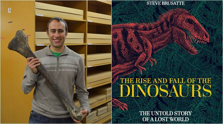 steve brusatte paleontologist with his book the rise and fall of dinosaurs