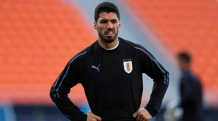 Uruguay's Luis Suarez during training