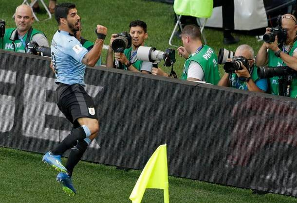 Uruguay's Luis Suarez celebrates after scoring the opening goal during the group A match between Uruguay and Saudi Arabia at the 2018 soccer World Cup