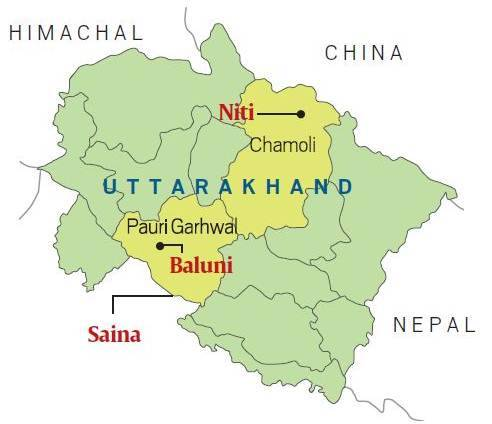 uttarakhand, abandoned villages, baluni, saina, bhootiya villages, migration in india, niti gaon, indian express