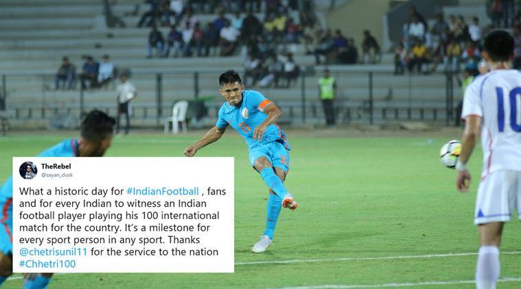 sunil chhetri, sunil chhetri 100, sunil chhetri 100 caps, sunil chhetri india, india football, football news, sports news, indian express