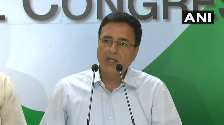Congress spokesperson Randeep Singh Surjewala addresses the media in New Delhi on Thursday. (ANI)