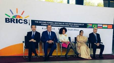 External Affairs Minister Sushma Swaraj at the BRICS meet. (Twitter/@MEAIndia)