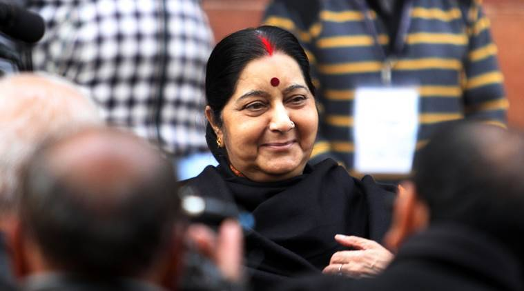 Sushma Swaraj urged members to pass the Citizenship Act amendment Bill, pending in the Upper House, to help resolve issues pertaining to atrocities and attacks on minorities, including those in Pakistan. (Express photo)