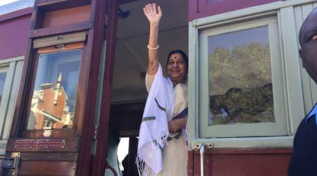 Sushma Swaraj travels in train in South Africa to mark Mahatma Gandhi's eviction from 'whites-only' compartment