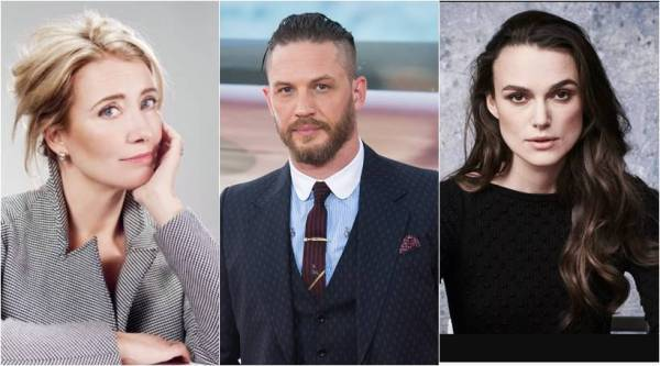 emma thompson, tom hardy and keira knightley received award by queen