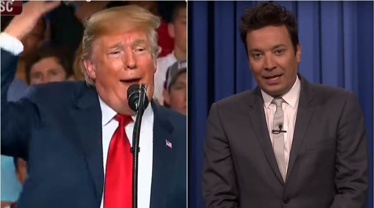 Donald Trump (left) mocking Jimmy Fallon at a rally, Jimmy Fallon (right) responding to Trump's tweet
