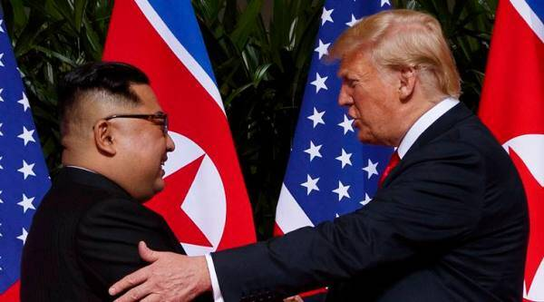 North Korean leader Kim Jong Un with US President Donald Trump. (AP)