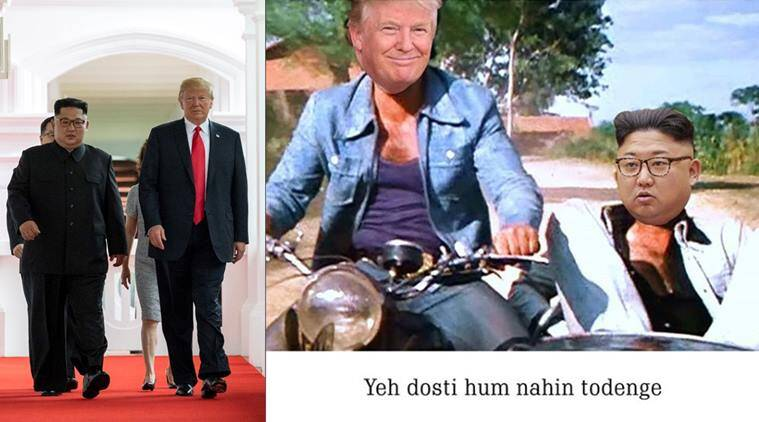 doanld trump, kim jong un, kim trump summit, trump kim meeting, trump kim sign document, kim trump memes, trump kim meeting jokes, world news, indian express, trending news