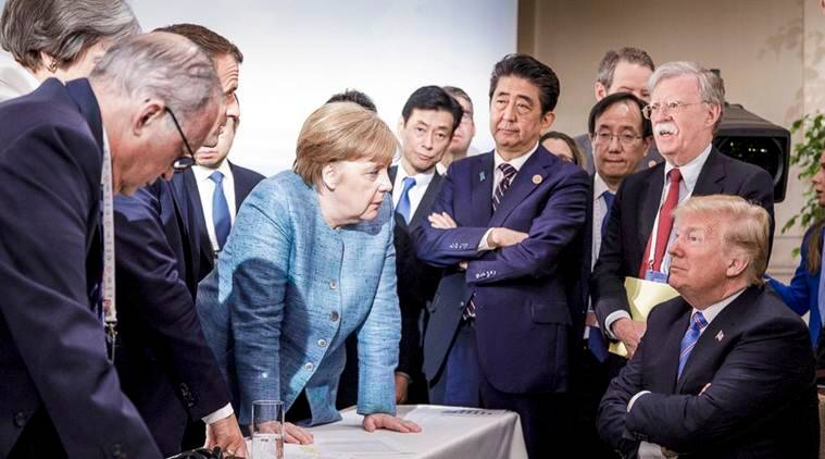 Donald Trump-Angela Merkel staring down contest sums up G7 Summit