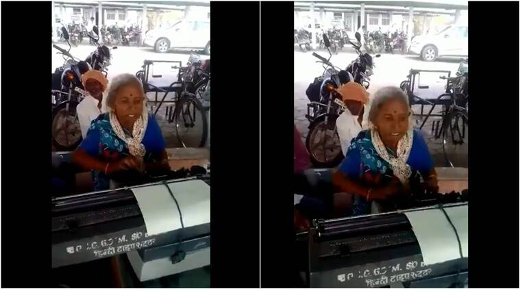 madhya pradesh old typist. old lady typist madhya pradesh viral video, madhya pradesh old lady typist video viral, Indian express, Indian express news