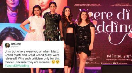 veere di wedding, karrena kapoor khan, sonam kapoor, swara bhaskar, veere di wedding review, veere di wedding criticism, veere di wedding sexist remarks, swara bhasker mastarbation remarks, indian express, entertainment news