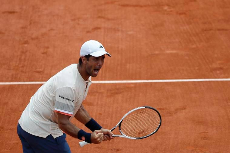 Spain's Fernando Verdasco reacts after winning over Grigor Dimitrov at French Open