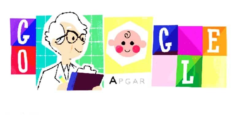 google doodle, virginia apgar, google doodle virginia apgar, google doodle today, virginia apgar birth anniversary, 109th birthday virgnia apgar, Indian express, Indian express news