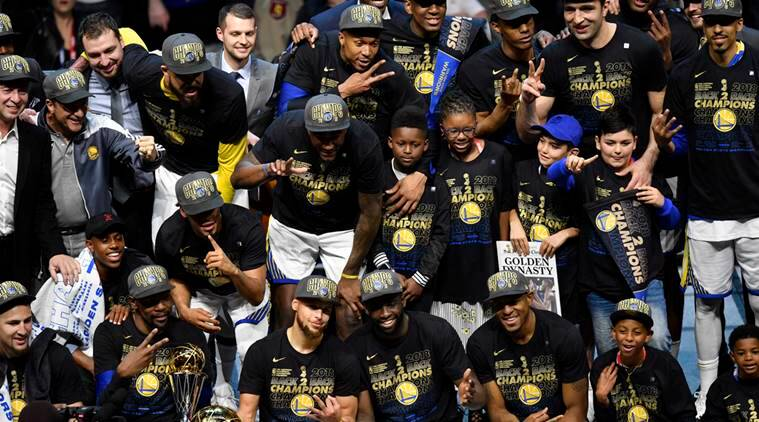 The Golden State Warriors celebrate after defeating the Cleveland Cavaliers in game four of the 2018 NBA Finals at Quicken Loans Arena.