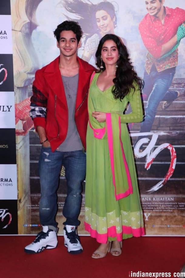 ishaan khatter and janhvi kapoor at trailer launch
