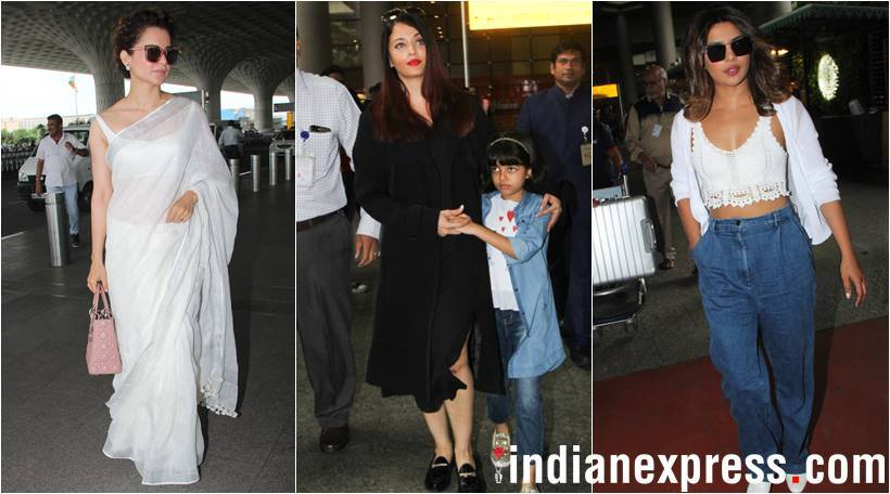 Aishwarya Rai Bachchan, Kangana Ranaut and Priyanka CHopra at airport