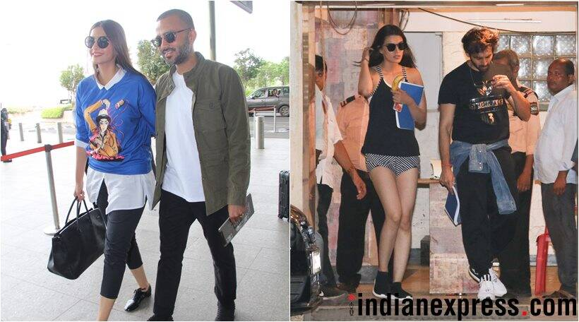 Sonam Kapoor and Anand Ahuja at airport