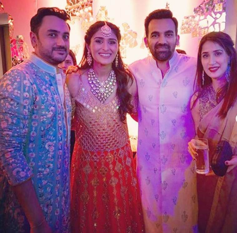 zaheer khan and sagarika ghatge at poorna's wedding