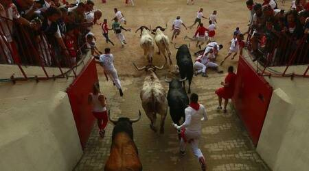 Spain's annual bull running festival kicks off amid heavy rain