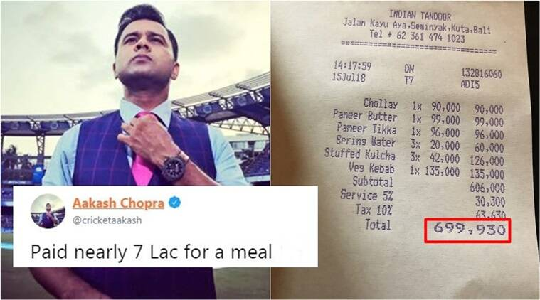 aakash chopra, aakash chopra 7 lac restaurant bill, aakash chopra twitter, aakash chopra cricket, aakash chopra bali, aakash chopra restaurant bill, aakash chopra 7 lakh bill, Indian express, Indian express news