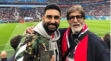 Amitabh and Abhishek Bachchan enjoy FIFA World Cup semi-final match in Russia