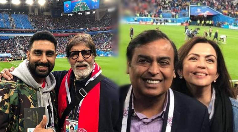 amitabh bachchan, abhishek bachchan, nita ambani and mukesh ambani in russia for football world cup