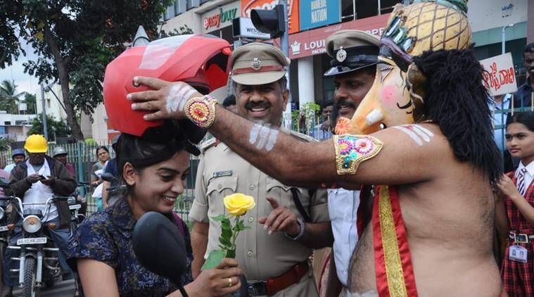 bengaluru traffic police, bangalore police, bengaluru lord ganesha campaign, bangalore police ganesha road safety, road safety awareness bengaluru, india news, weird news, odd news indian express