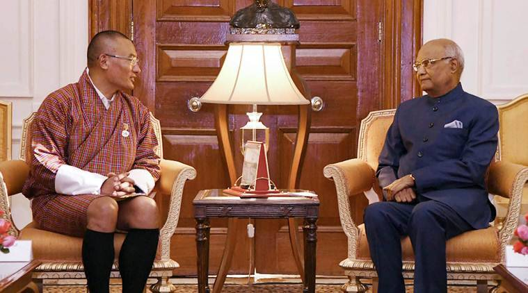Bhutanese Prime Minister Tshering Tobgay calls on President Ram Nath Kovind at Rashtrapati Bhavan in New Delhi. (Source: PIB Photo via PTI)