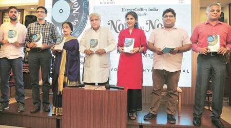 indian independence book, indian express journalists, seema chishti, sushant singh, javed akhtar, note by note, mumbai bookstore book launch, title waves bookstore, hindi film songs