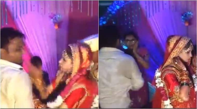 bride slap man, bride slap man after varmala, bride slap relative wedding, viral videos, indian wedding funny videos, funny videos, indian express, viral news